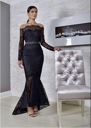 NEW Black Lace TreZzi Evening Dress Boutique - Retail: $200 - Size Small