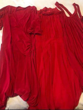 3 piece Chiffon Red Dress