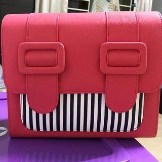 Merimies stripe cute hot pink bag