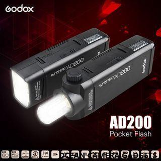 🚚 Godox AD 200 Pocket Flash AD200 Portable Mini TTL HSS AD-200 Speedlite
