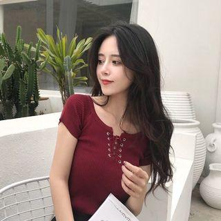 BN Maroon lace up top ($5 mailed)
