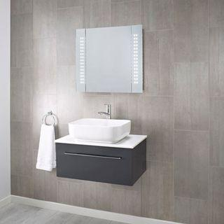 3814. Pebble Grey LED Illuminated Bathroom Mirror Cabinet - Wall Mounted Mirror Storage Cupboard with Lights (Kinsley) [Energy Class A]