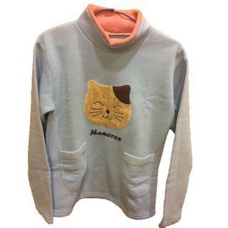 AJ女裝π 上衣 毛料 刷毛 貓咪 口袋 長袖 #半價衣服拍賣會
