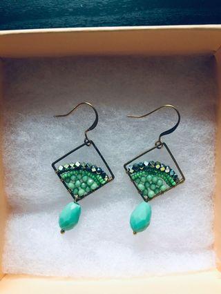 BN Green beaded bohemian earrings