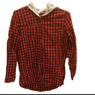 #半價衣服拍賣會 AJ女裝π 上衣 襯衫 格紋 連帽 蕾絲