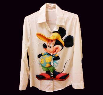 #半價衣服拍賣會 AJ女裝π 上衣 襯衫 長袖 米奇 迪士尼 白襯衫