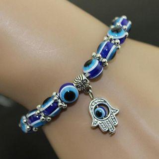 Bracelet Unisex Vintage Handmade Hamsa Fatima Bangle Evil Eye Beads Elastic Bracelet