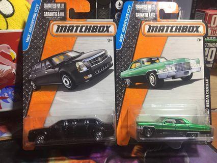 Lot matchbox cadilac ome and cadilac sedan