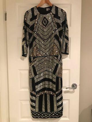 Embellished Beaded Midi Dress