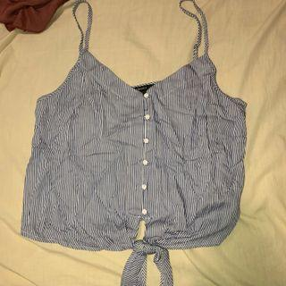 Blue and white striped Cami button up singlet with knot front