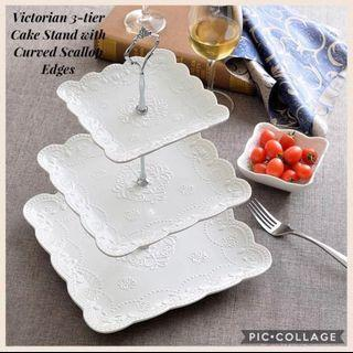 Brand New European Victorian White 3-tier Square Cake Stand