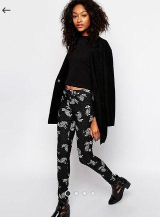 Monki Cat Print Black Jeans