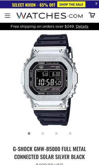 🚚 G-SHOCK GMW-B5000 FULL METAL CONNECTED SOLAR SILVER BLACK