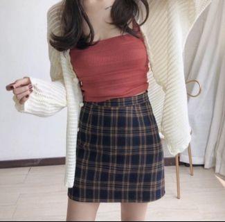 🚚 韓版顯瘦格紋裙 A字裙 短窄裙 有內襯防走光