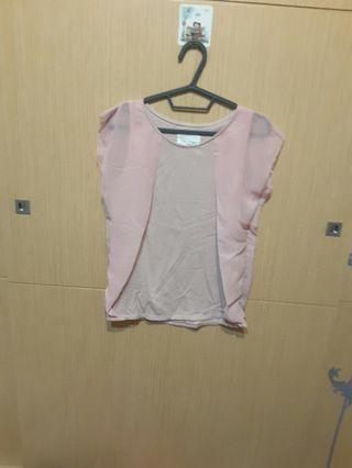 🚚 粉色拼接雪紡上衣