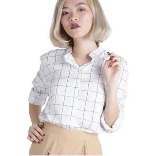 ttr lacross grid blouse in white