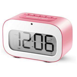 -1222-Alarm Clock, LED Emoji Travel Alarm Clock / Smart Desk Clock / Candy-Colored Digital Clock for Kids Battery Operated (Pink)