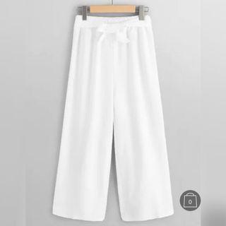 🚚 白色鬆緊帶寬褲(附綁帶)