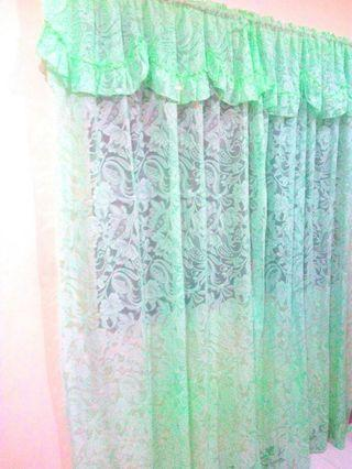 10-pc Green Lace Curtains