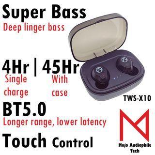 TWS-X10 BT5.0 Super Bass Wireless Earbuds Bluetooth Earphones