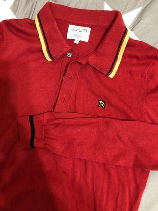 Arnold Palmer 小雨傘 紅色 長袖 polo衫 2號