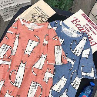 🚚 【全新】 <紅色>韓版女生卡通貓咪圖案T-shirt