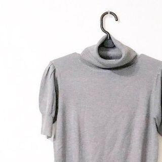 專櫃 日貨 九成新 嫘縈 百貨專櫃 短袖針織初春上衣 灰色針織 貼身針織 淑女風格