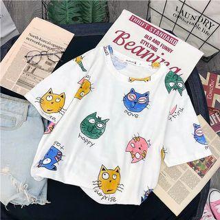 🚚 【全新】<白色> 韓版女生卡通貓咪圖案T-shirt