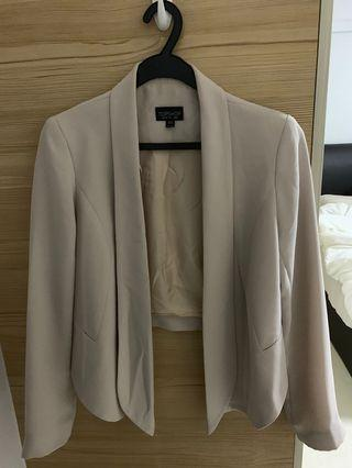 Top shop cropped blazer in pale pink