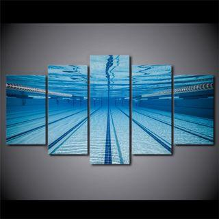 Framed Print Swimming Pool Sports Underwater Blue Wall Art Canvas Room Office Decoration Artwork