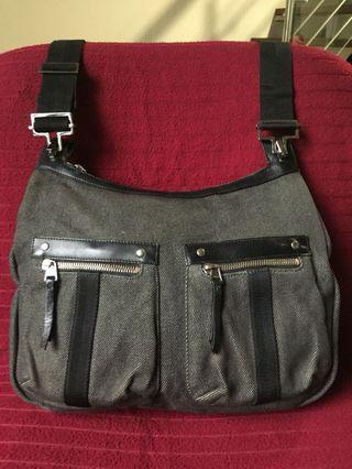 e22fceed8db AUTHENTIC GUCCI BLACK DENIM CANVAS SHOULDER CROSSBODY BAG