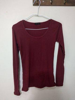 Lulu's 紅色 酒紅 長袖 針織 上衣 可愛