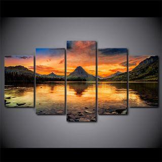 Framed Print Scenery Sunset Lake Mountain Forest View Wall Art Canvas Room Office Decoration Artwork