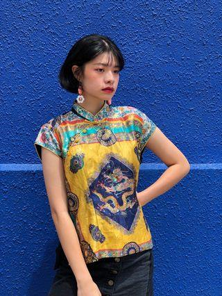 🚚 Vintage upcycled dragon blouse top shirt mandarin collar Cheong sam influenced