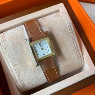 Hermes 21mm h hour gold color GHW watch女裝手錶