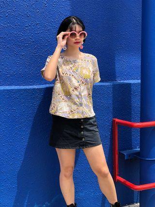 Vintage 1980s Java island print blouse TOP shirt
