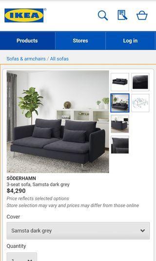 Used 6 mths: IKEA SÖDERHAMN SOFA - 3 seater