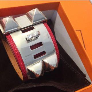全新 愛馬仕 bracelet cdc 手鐲 Hermes Epsom Red Rouge New silver hardware 銀扣