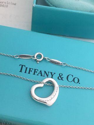 真品Tiffany&co 經典Open heart 愛心項鍊 S號