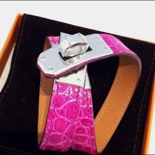 全新 愛馬仕 Hermes 鱷魚皮手帶 凱莉款 銀扣Hermes Kelly Double Tour Bracelet rose fuchsia Phw New