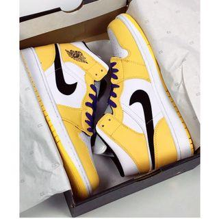 "AJ1 MID 湖人配色 Air Jordan 1 Mid ""Lakers""貨號:852542-700 size:36-46"