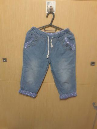 🚚 全新藍色反摺7分褲