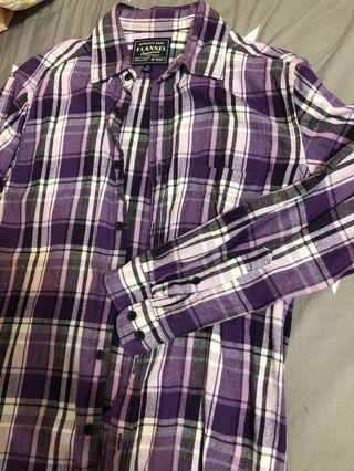 Uniqlo 紫色 格紋 長袖襯衫 S號