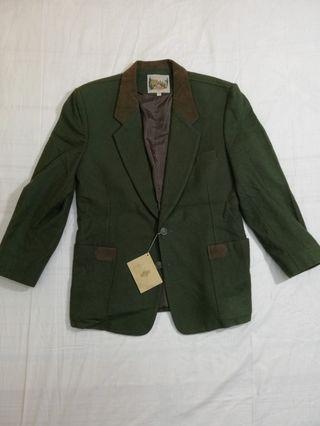 Ngu古著  軍綠色毛料西裝外套