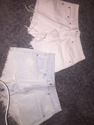 Pull&Bear white and light blue shorts