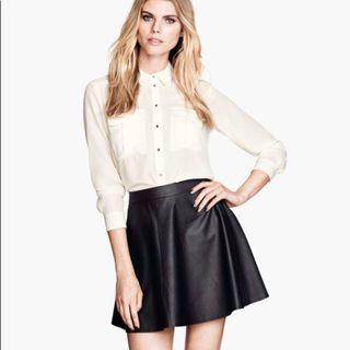 H&M black leather skirt