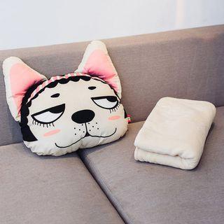 狗狗系列 鬥牛犬(女) 抱枕被 分離式蓋毯與抱枕 辦公室抱枕被 薄蓋毯