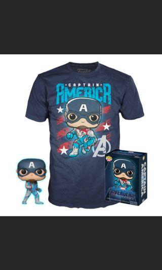 Funko Pop Avengers Endgame t-shirt collector box with Glow in the dark pop