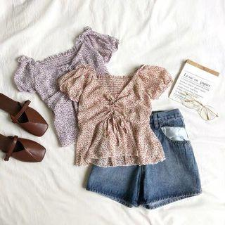 [PO] Sweetheart Floral Off Shoulder Ruched Peplum Top