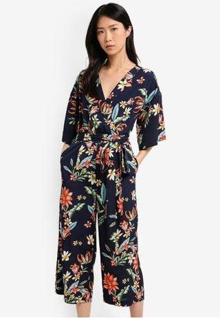 Zalora Printed Wrapped Jumpsuit